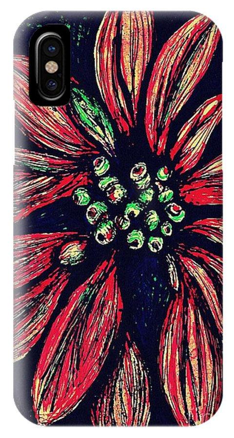 Poinsettia IPhone X / XS Case featuring the drawing Poinsettia by Sarah Loft