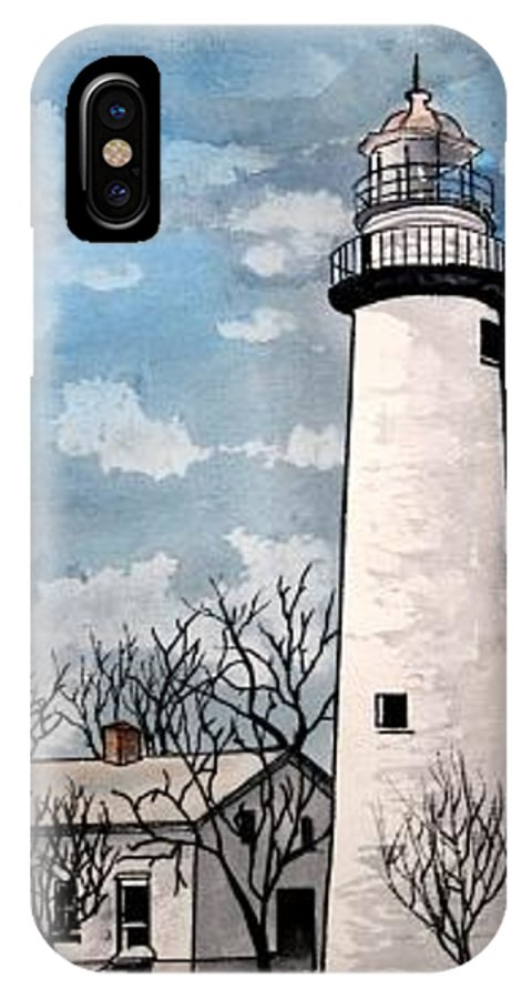 Lighthouse Painting IPhone X Case featuring the painting Point Aux Barques Lighthouse by Derek Mccrea