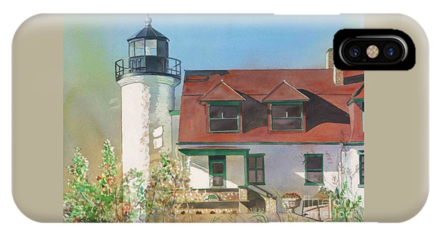 Point Betsie IPhone X Case featuring the painting Point Betsie Lighthouse by LeAnne Sowa