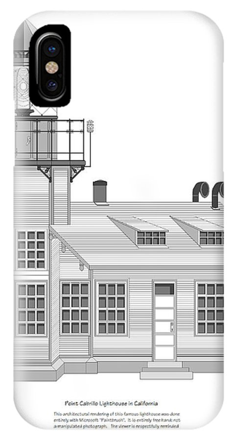 Lighthouse IPhone X Case featuring the painting Point Cabrillo Architectural Drawing by Anne Norskog