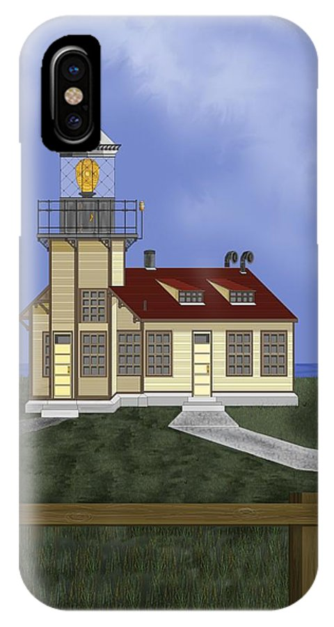Lighthouse IPhone X Case featuring the painting Point Cabrillo California by Anne Norskog