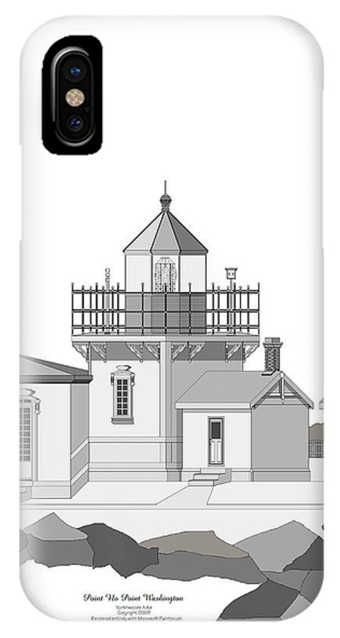 Lighthouse IPhone X Case featuring the painting Point No Point As Architectural Drawing by Anne Norskog
