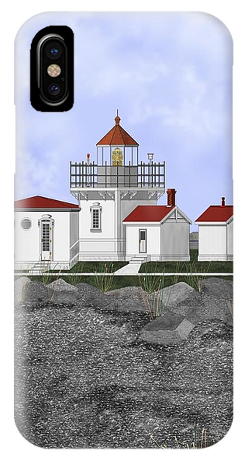 Lighthouse IPhone X Case featuring the painting Point No Point Lighthouse by Anne Norskog
