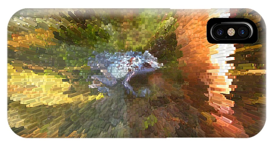 Frog. Blue IPhone X Case featuring the digital art Poison Blue Dart Frog by Donna Brown