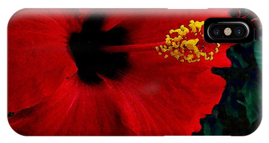 Red Hibiscus IPhone X Case featuring the photograph Poison Passion And Seduction by James Temple