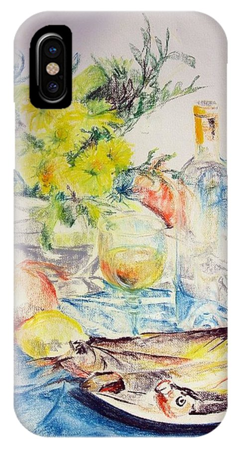 Still Life IPhone X Case featuring the drawing Poissons by Muriel Dolemieux
