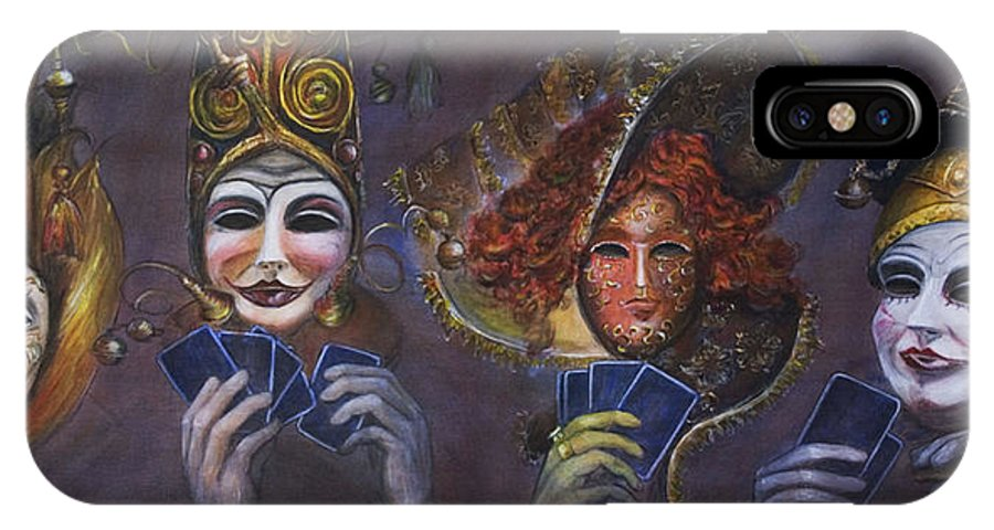 Masks IPhone X Case featuring the painting Poker Face by Nik Helbig