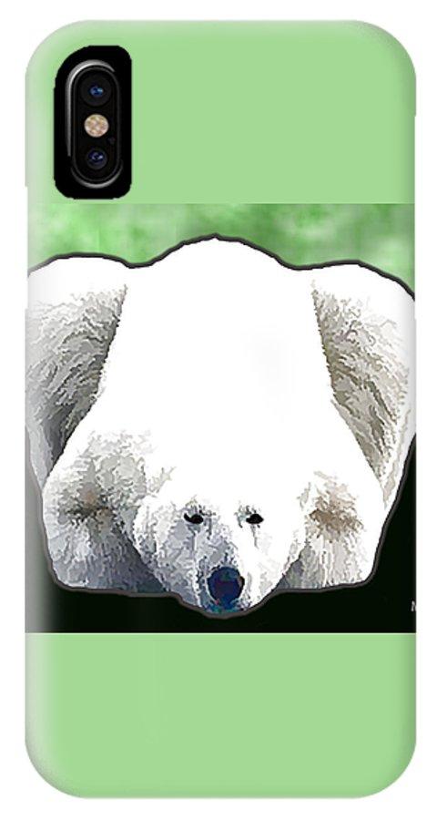 Animals IPhone X Case featuring the digital art Polar Bear - Green by Marlene Watson
