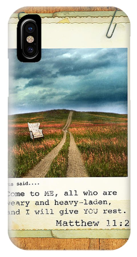 Weathered IPhone X Case featuring the photograph Polaroid On Weathered Wood With Bible Verse by Jill Battaglia