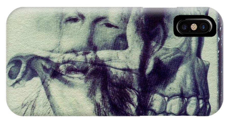 Polaroid IPhone X Case featuring the photograph Polaroid transfer skull anatomy teeth skeleton beard by Jane Linders