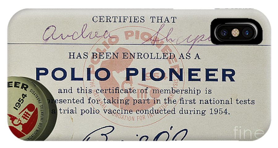 1954 IPhone X Case featuring the photograph Polio Certificate, 1954 by Granger