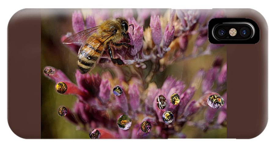 Bee. Cutter IPhone X Case featuring the digital art Pollen Bees by Roger Medbery