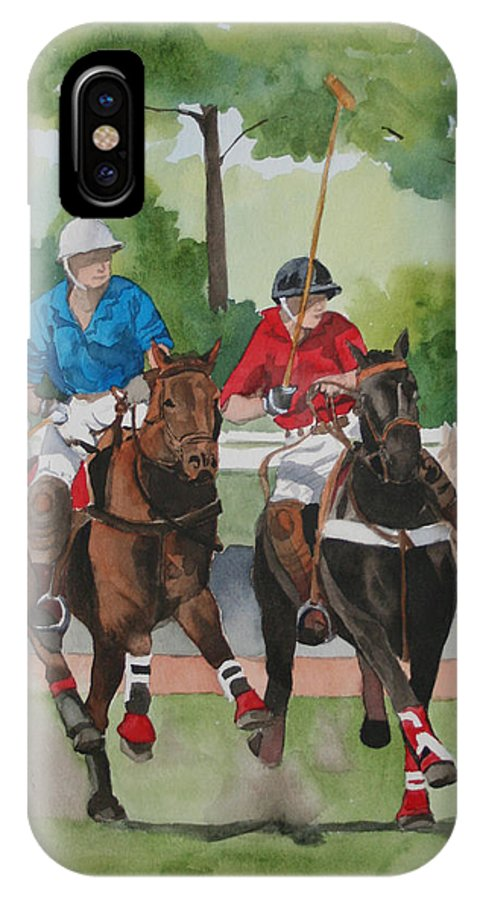 Polo IPhone X Case featuring the painting Polo In The Afternoon 2 by Jean Blackmer