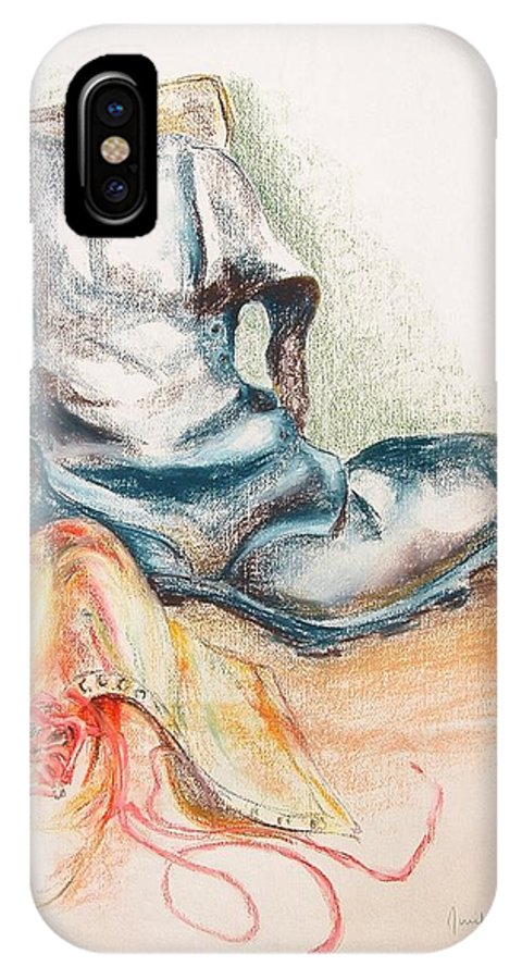 Still Life IPhone X Case featuring the drawing Pompes by Muriel Dolemieux