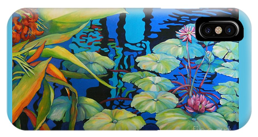 Top Artist IPhone X Case featuring the painting Pond 1 Pond Series by Sharon Nelson-Bianco