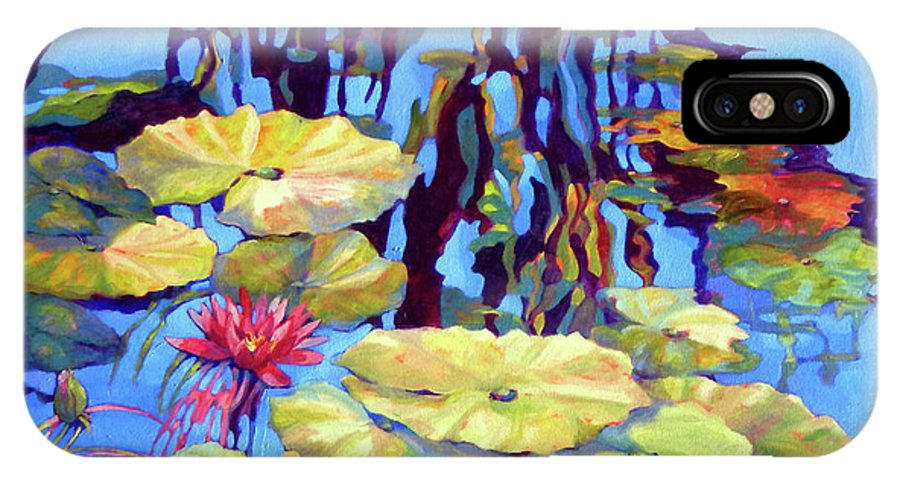 Top Artist IPhone X Case featuring the painting Pond 2 Pond Series by Sharon Nelson-Bianco