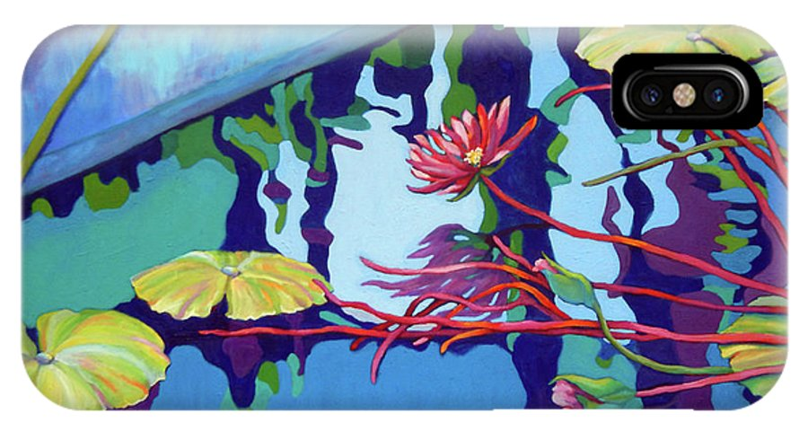 Top Artist IPhone X Case featuring the painting Pond 4 Pond Series by Sharon Nelson-Bianco