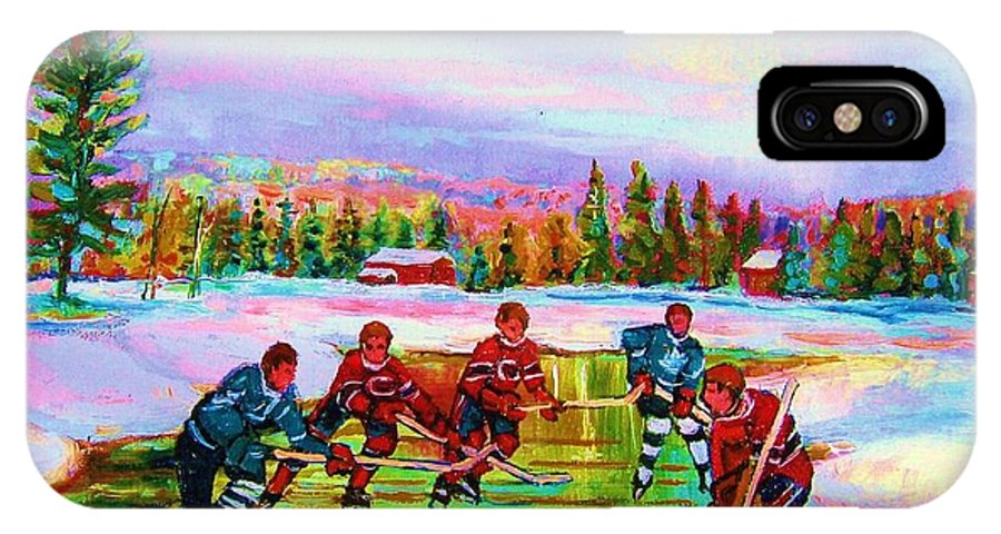 Hockey IPhone X Case featuring the painting Pond Hockey Blue Skies by Carole Spandau