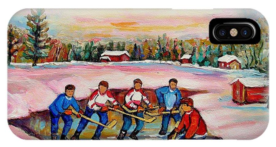 Pond Hockey IPhone X Case featuring the painting Pond Hockey Warm Day by Carole Spandau