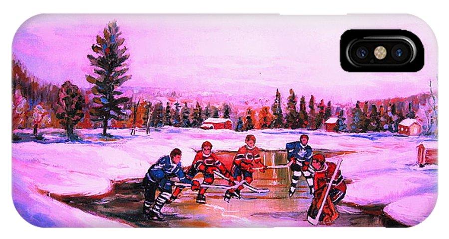 Hockey IPhone Case featuring the painting Pond Hockey Warm Skies by Carole Spandau