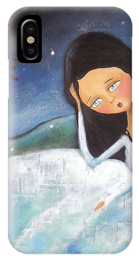 Girl IPhone X Case featuring the painting Pondering by Patti Ballard