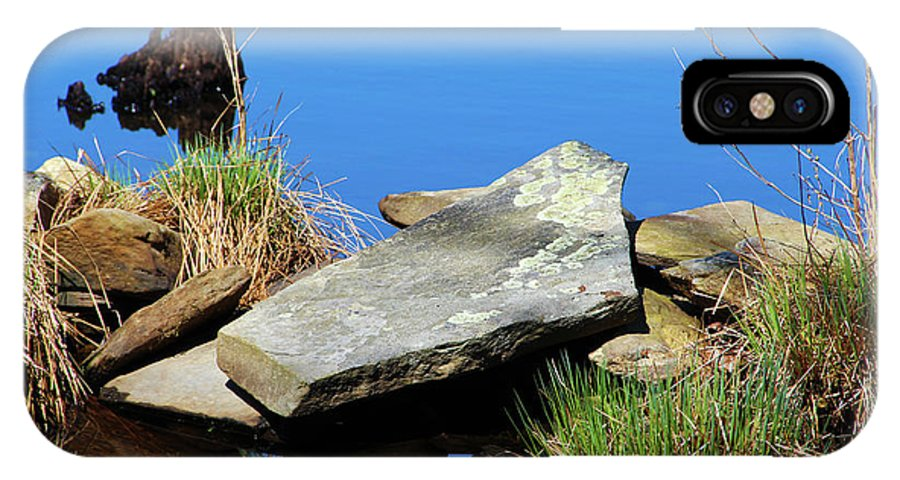 Photography IPhone X Case featuring the photograph Pondside Stone by Steven Scanlon