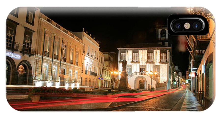 Azores IPhone X Case featuring the photograph Ponta Delgada At Night by Gaspar Avila