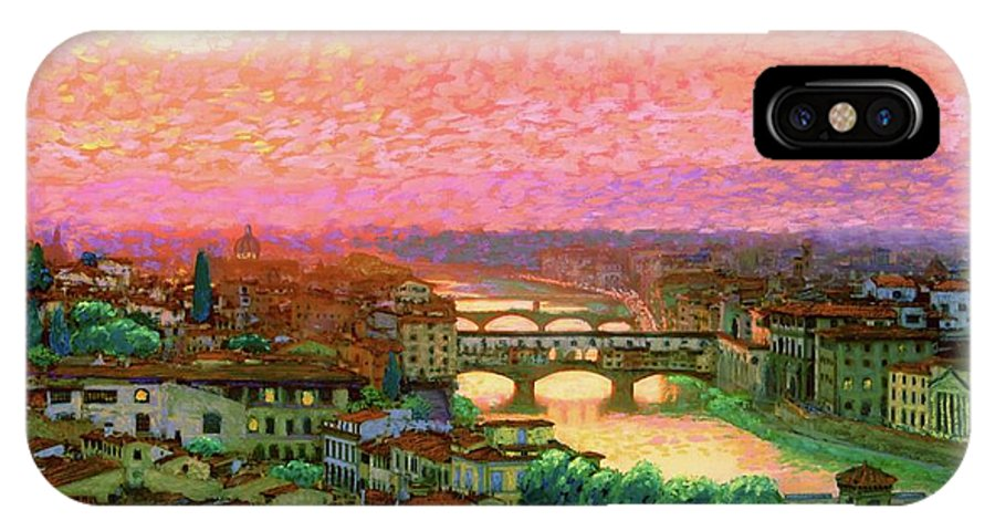 Italy IPhone X Case featuring the painting Ponte Vecchio Sunset Florence by Jane Small