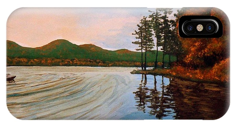 Pontoosuc Lake Berkshire Hills Landscape Forest Woods Boat IPhone X Case featuring the painting Pontoosuc Lake Pittsfield Ma by William Tremble