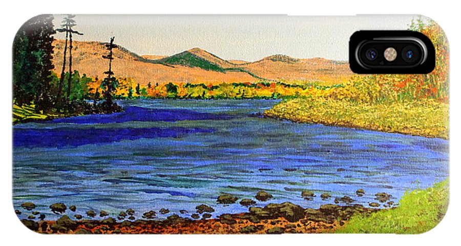 Landscape IPhone X Case featuring the painting Pontoosuc Lake Pittsfield Massachusetts by William Tremble