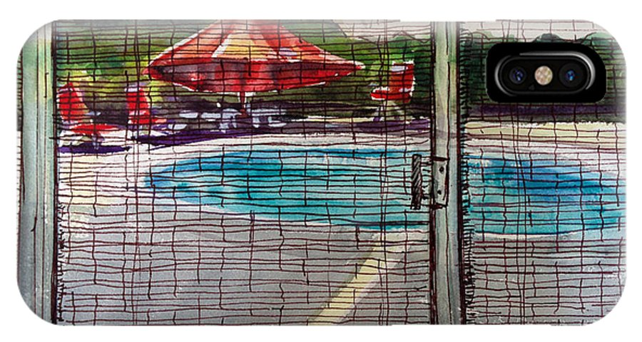 Pool IPhone X Case featuring the painting Pool View by Lynne Haines
