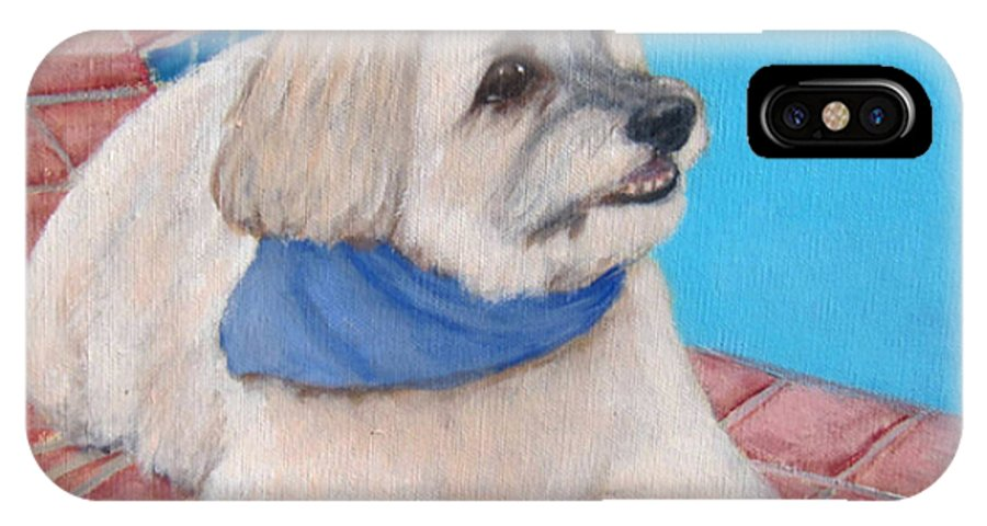 Dogs IPhone X Case featuring the painting Poolside Puppy by Laurie Morgan