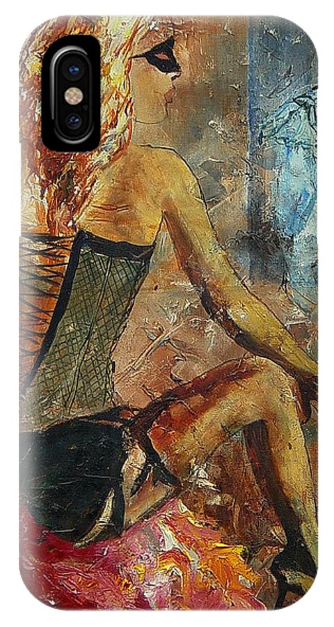 Girl IPhone X Case featuring the painting Poor Pierrot by Pol Ledent