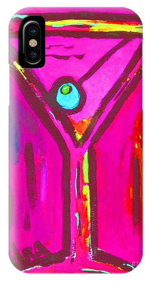 Martini IPhone X Case featuring the painting Pop Art Martini Pink Neon Series 1989 by Sidra Myers