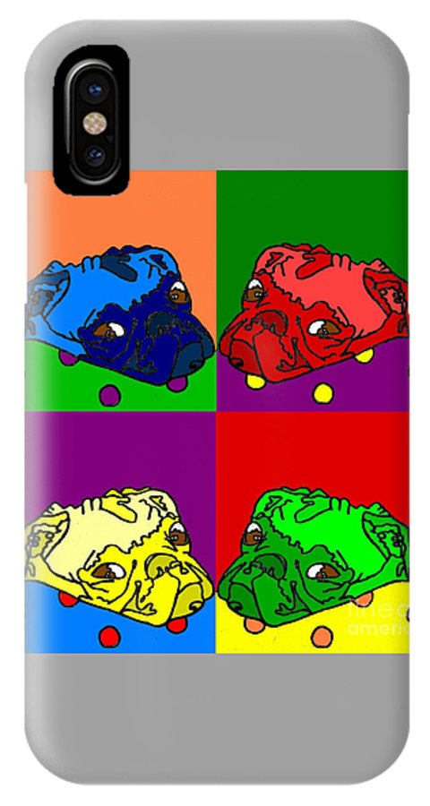 IPhone X Case featuring the digital art Pop Art Pug by Purely Pugs Design