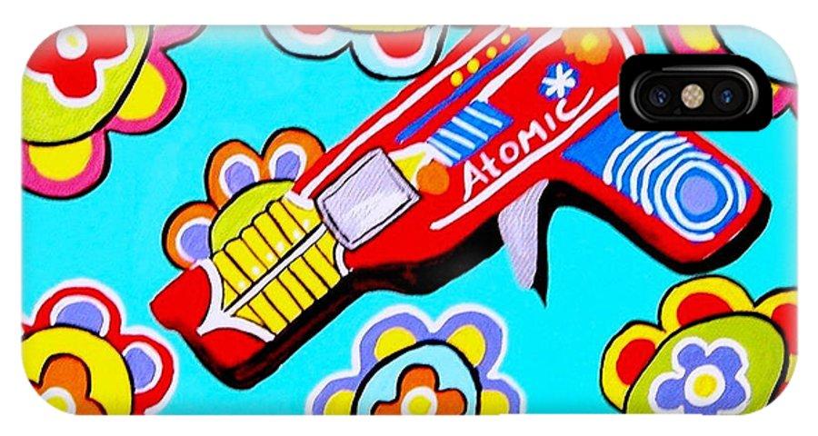 Pop Art IPhone X Case featuring the painting Pop Ray Gun by Lynnda Rakos