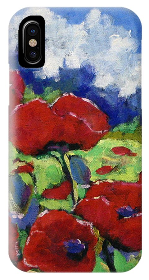 Art IPhone X Case featuring the painting Poppies 003 by Richard T Pranke
