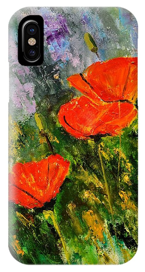 Flowers IPhone X Case featuring the painting Poppies 107 by Pol Ledent
