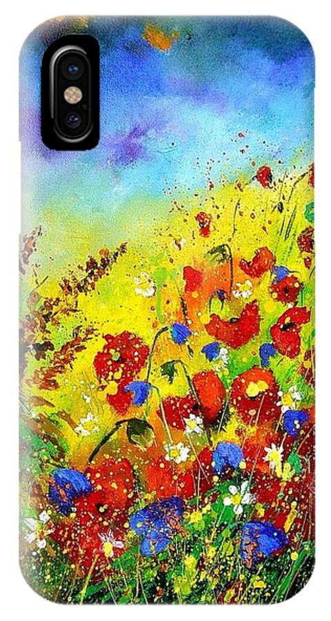 Poppies IPhone X / XS Case featuring the print Poppies And Blue Bells by Pol Ledent