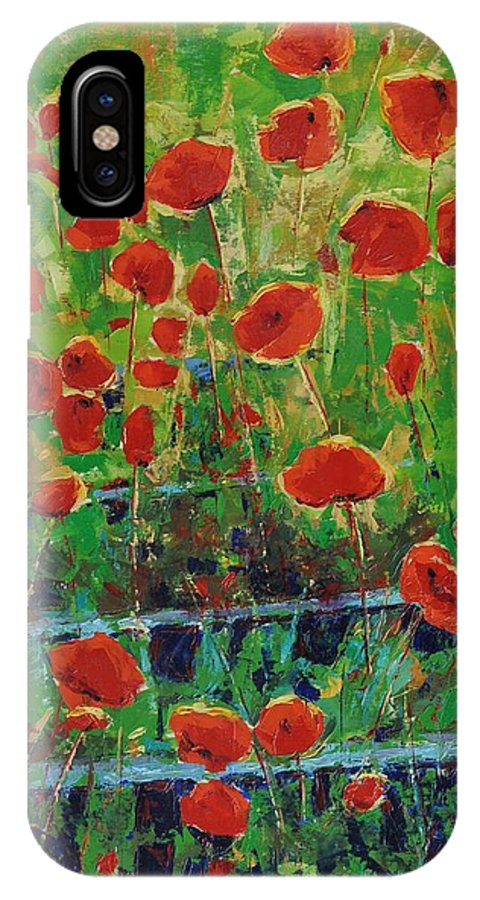 Poppies IPhone X Case featuring the painting Poppies And Traverses 1 by Iliyan Bozhanov
