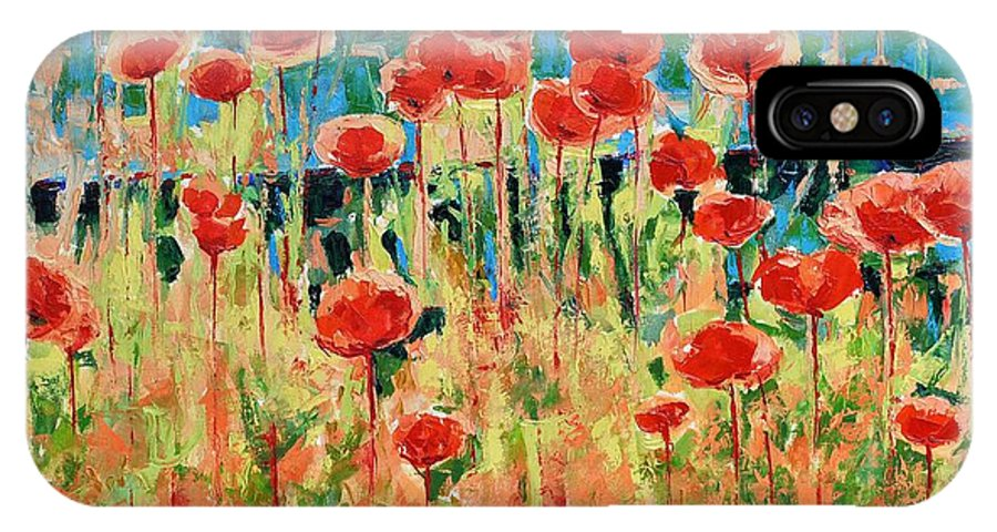 Poppies IPhone X Case featuring the painting Poppies And Traverses 2 by Iliyan Bozhanov