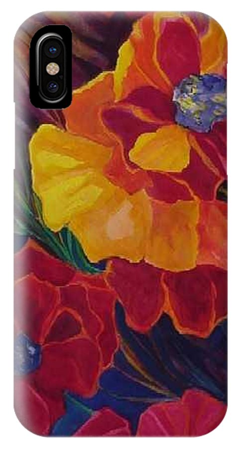 Flowers IPhone X Case featuring the painting Poppies by Carolyn LeGrand