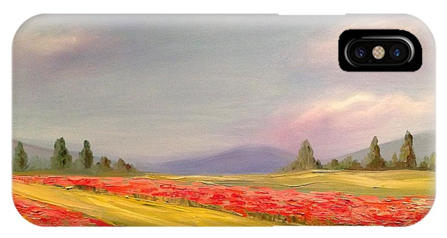 Provence Landscape IPhone X Case featuring the painting Poppies by Eve Mariya Blyznyuk