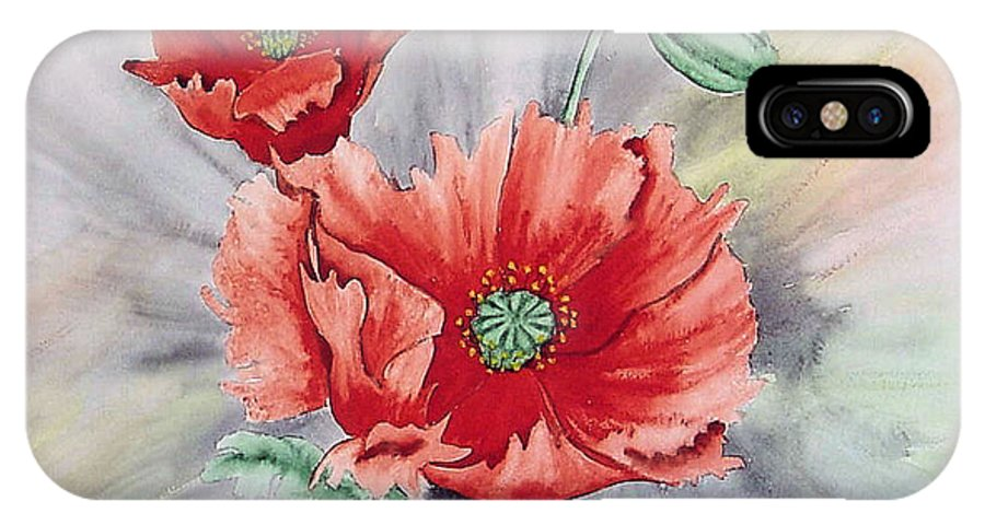 Poppies IPhone X Case featuring the painting Poppies by Frank Hamilton