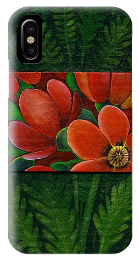 Poppy IPhone X Case featuring the painting Poppies by Helena Tiainen