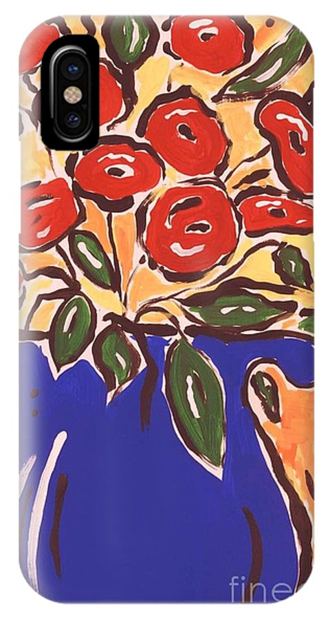 Floral IPhone X Case featuring the painting Poppies In Blue Vase 2001 by Sidra Myers