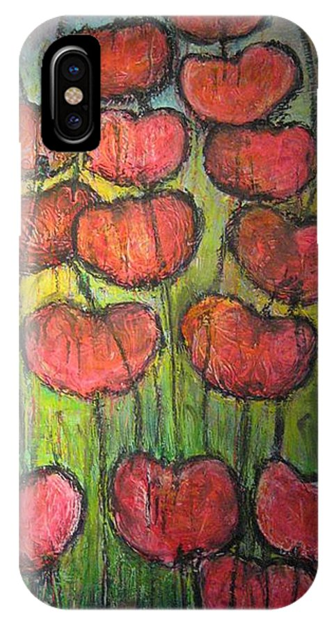 Poppies IPhone X Case featuring the painting Poppies In Oil by Laurie Maves ART