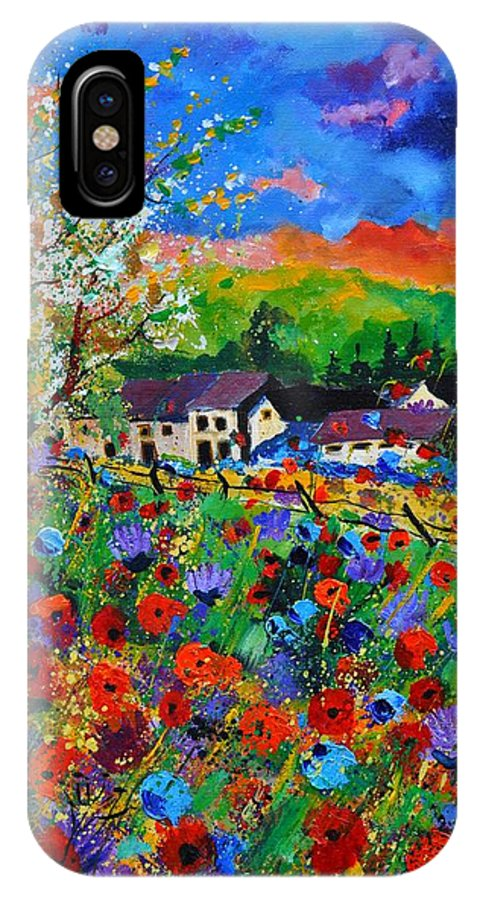 Poppies IPhone X Case featuring the painting Poppies in Sorinnes by Pol Ledent