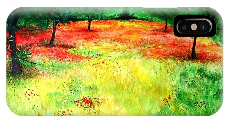 Landscape IPhone X Case featuring the painting Poppies In The Almond Grove by Lizzy Forrester