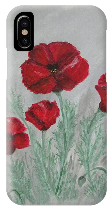 Abstract Poppies Red Flowers Gardens Perennials Mist Gray Orange Olive White IPhone X Case featuring the painting Poppies In The Mist by Sharyn Winters
